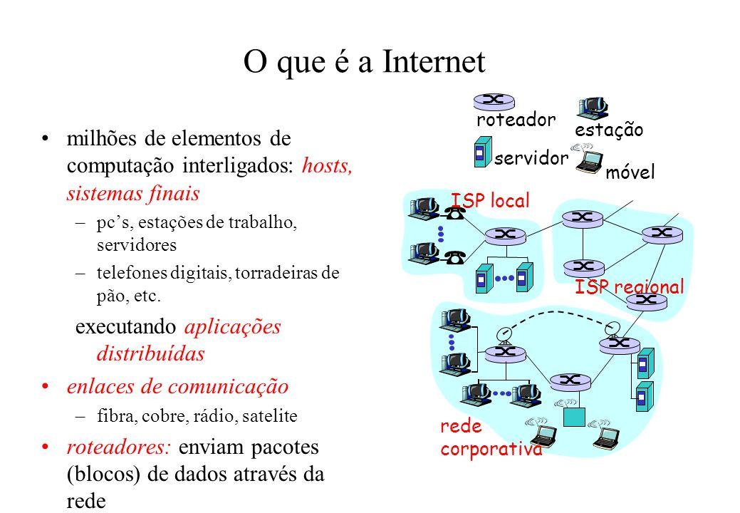 O que é a Internet milhões de elementos de computação interligados: hosts, sistemas finais –pcs, estações de trabalho, servidores –telefones digitais,