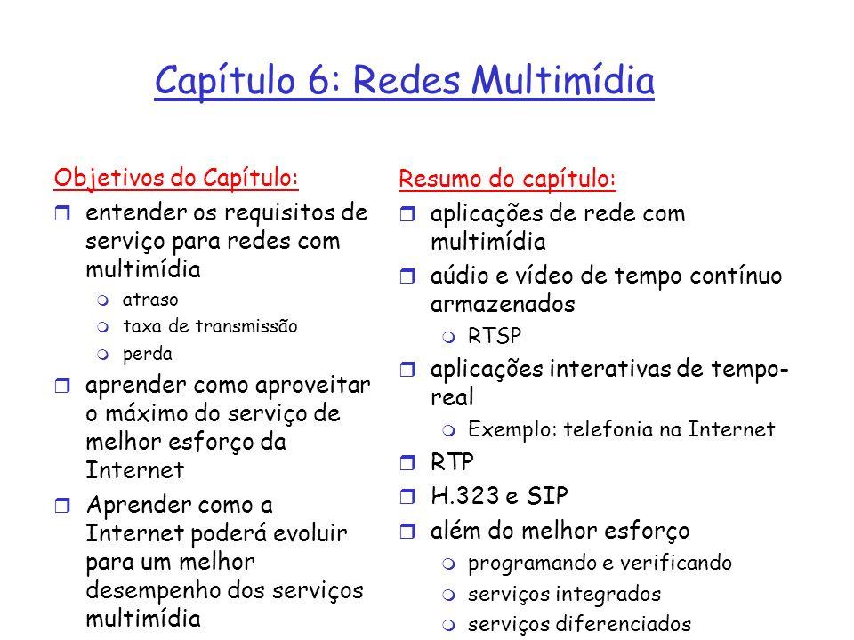 Capítulo 6: Redes Multimídia Objetivos do Capítulo: r entender os requisitos de serviço para redes com multimídia m atraso m taxa de transmissão m per