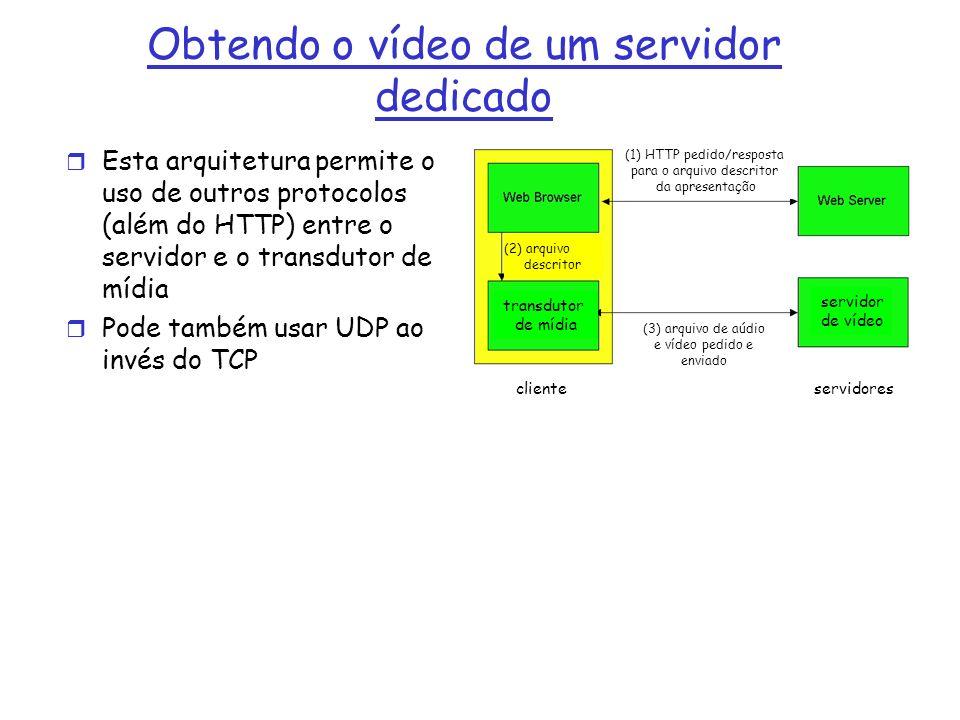 Obtendo o vídeo de um servidor dedicado r Esta arquitetura permite o uso de outros protocolos (além do HTTP) entre o servidor e o transdutor de mídia