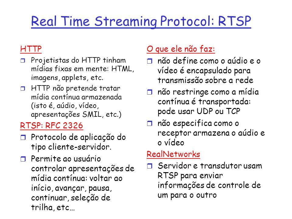 Real Time Streaming Protocol: RTSP HTTP r Projetistas do HTTP tinham mídias fixas em mente: HTML, imagens, applets, etc. r HTTP não pretende tratar mí
