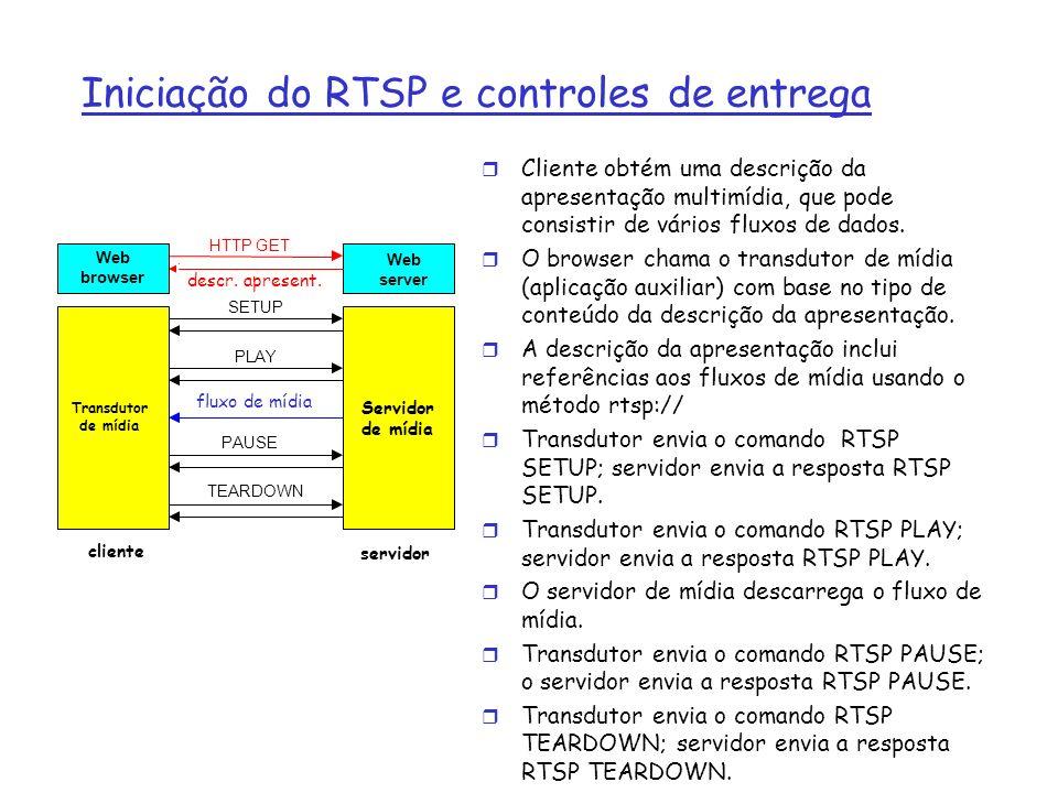Iniciação do RTSP e controles de entrega r Cliente obtém uma descrição da apresentação multimídia, que pode consistir de vários fluxos de dados. r O b