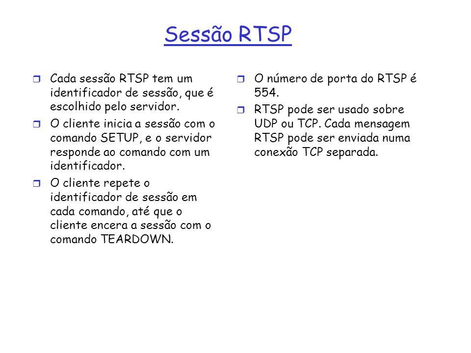 Sessão RTSP r Cada sessão RTSP tem um identificador de sessão, que é escolhido pelo servidor. r O cliente inicia a sessão com o comando SETUP, e o ser