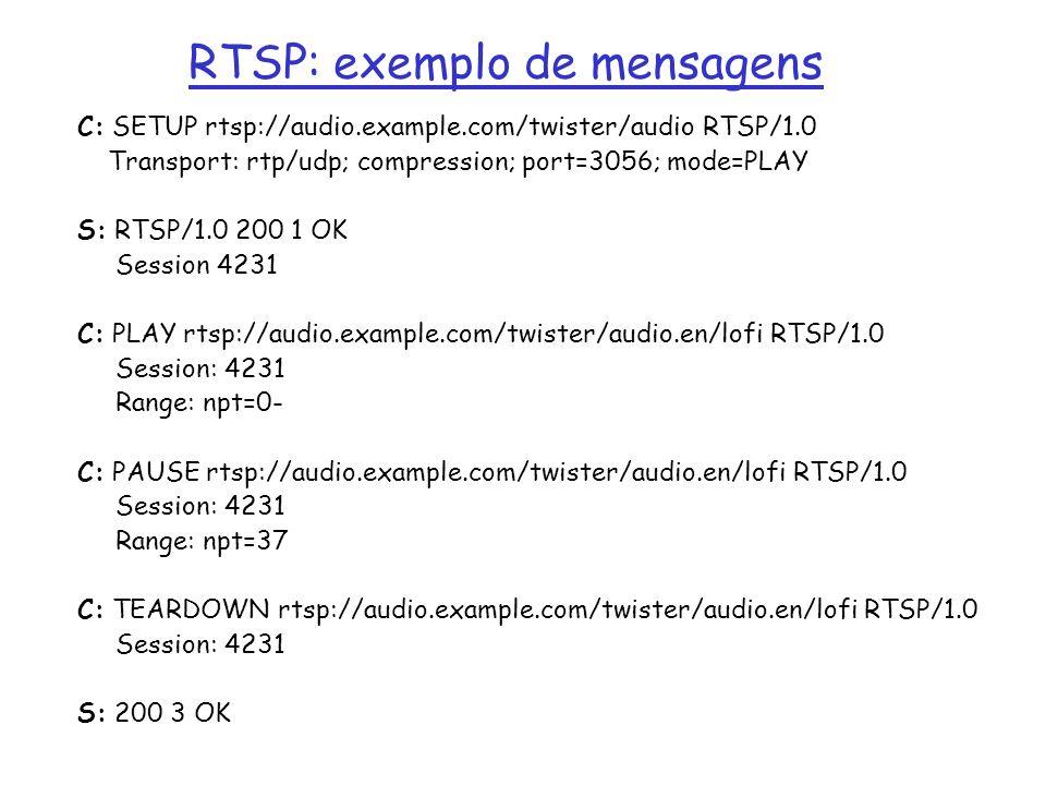 RTSP: exemplo de mensagens C: SETUP rtsp://audio.example.com/twister/audio RTSP/1.0 Transport: rtp/udp; compression; port=3056; mode=PLAY S: RTSP/1.0