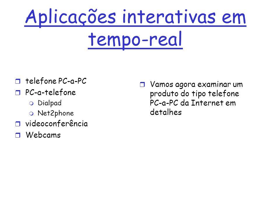 Aplicações interativas em tempo-real r telefone PC-a-PC r PC-a-telefone m Dialpad m Net2phone r videoconferência r Webcams r Vamos agora examinar um p