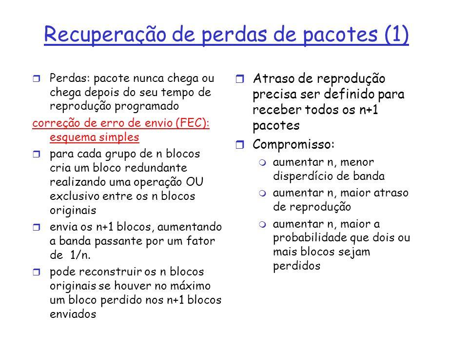 Recuperação de perdas de pacotes (1) r Perdas: pacote nunca chega ou chega depois do seu tempo de reprodução programado correção de erro de envio (FEC