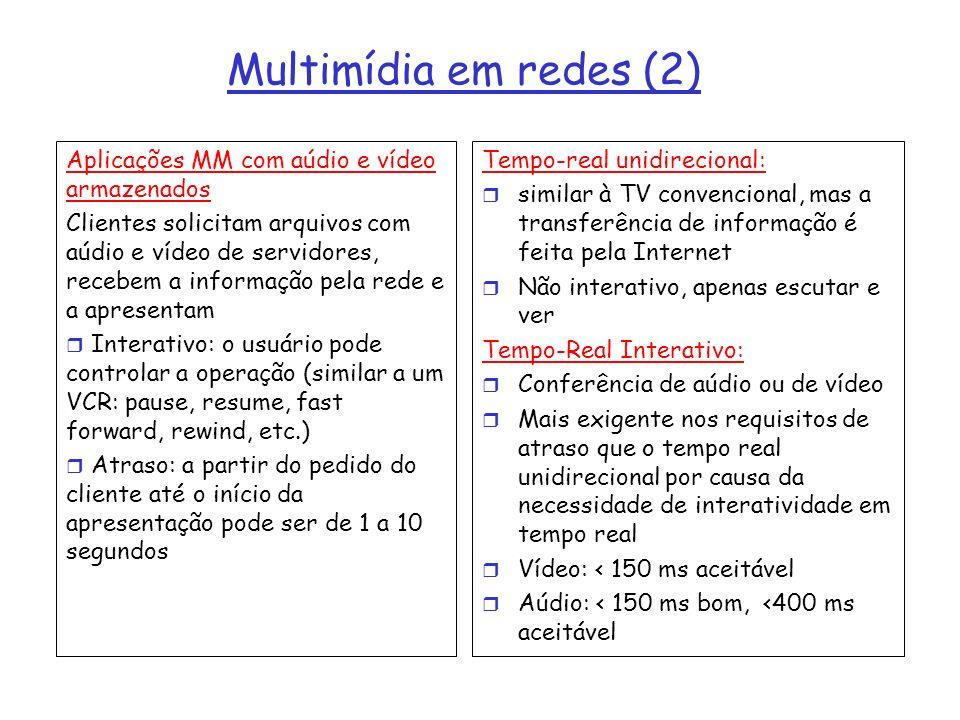 Multimídia em redes (2) Aplicações MM com aúdio e vídeo armazenados Clientes solicitam arquivos com aúdio e vídeo de servidores, recebem a informação