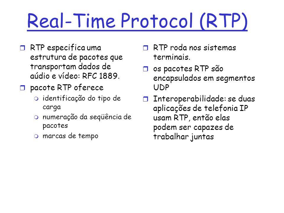 Real-Time Protocol (RTP) r RTP especifica uma estrutura de pacotes que transportam dados de aúdio e vídeo: RFC 1889. r pacote RTP oferece m identifica