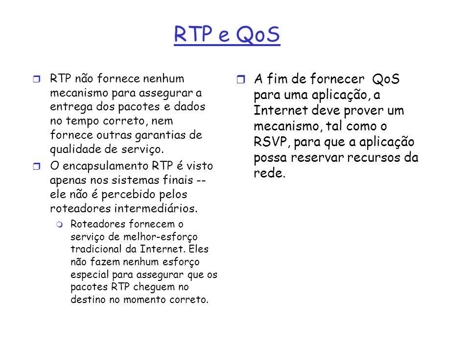 RTP e QoS r RTP não fornece nenhum mecanismo para assegurar a entrega dos pacotes e dados no tempo correto, nem fornece outras garantias de qualidade