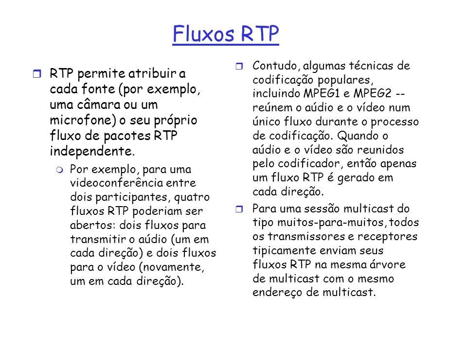 Fluxos RTP r RTP permite atribuir a cada fonte (por exemplo, uma câmara ou um microfone) o seu próprio fluxo de pacotes RTP independente. m Por exempl