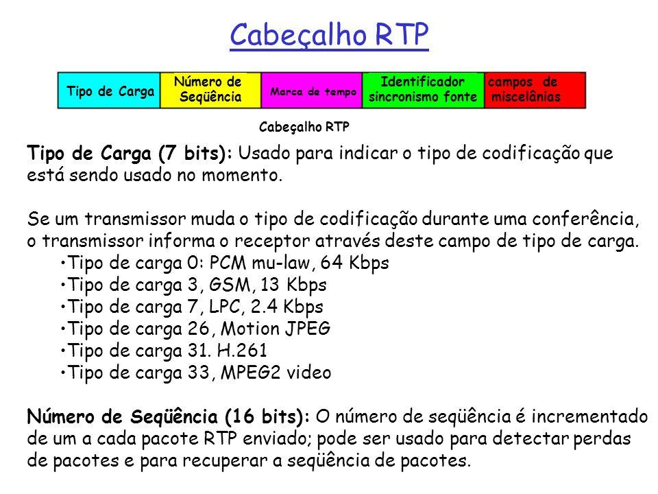 Cabeçalho RTP Tipo de Carga (7 bits): Usado para indicar o tipo de codificação que está sendo usado no momento. Se um transmissor muda o tipo de codif