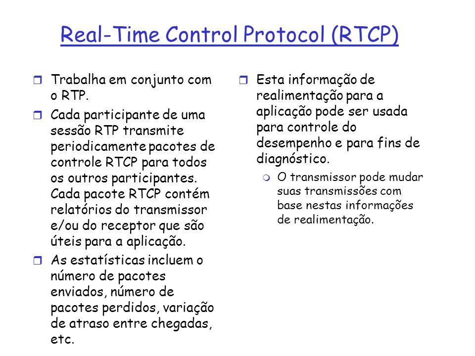 Real-Time Control Protocol (RTCP) r Trabalha em conjunto com o RTP. r Cada participante de uma sessão RTP transmite periodicamente pacotes de controle
