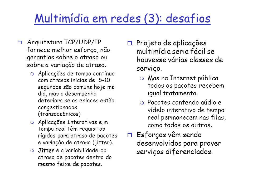 Multimídia em redes (3): desafios r Arquitetura TCP/UDP/IP fornece melhor esforço, não garantias sobre o atraso ou sobre a variação de atraso. m Aplic