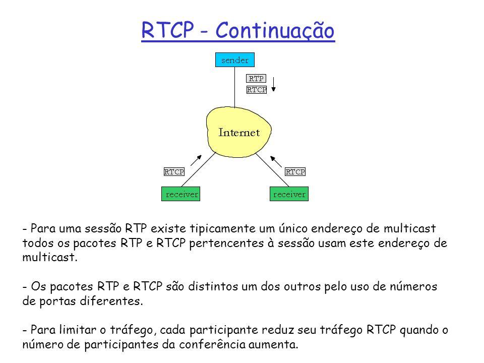 RTCP - Continuação - Para uma sessão RTP existe tipicamente um único endereço de multicast todos os pacotes RTP e RTCP pertencentes à sessão usam este