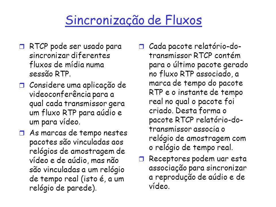 Sincronização de Fluxos r RTCP pode ser usado para sincronizar diferentes fluxos de mídia numa sessão RTP. r Considere uma aplicação de videoconferênc
