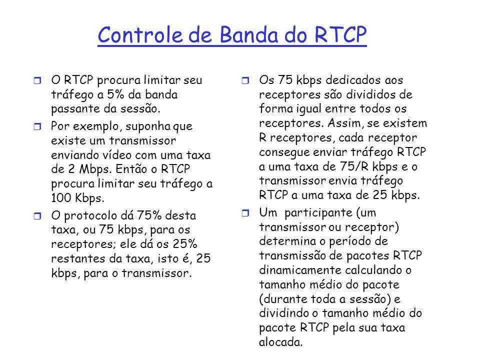 Controle de Banda do RTCP r O RTCP procura limitar seu tráfego a 5% da banda passante da sessão. r Por exemplo, suponha que existe um transmissor envi