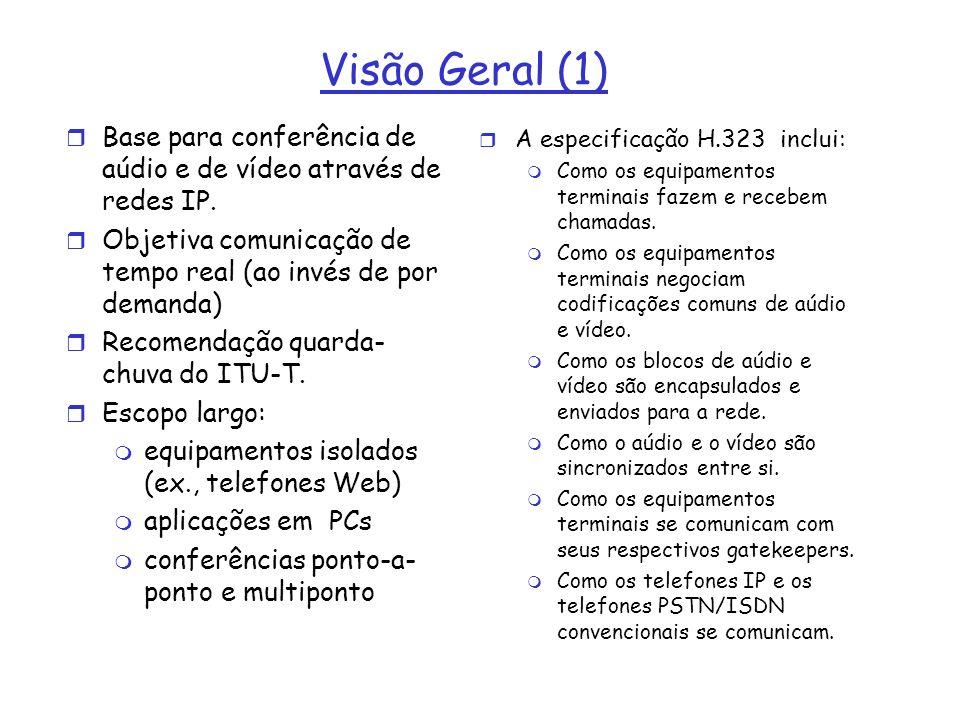 Visão Geral (1) r Base para conferência de aúdio e de vídeo através de redes IP. r Objetiva comunicação de tempo real (ao invés de por demanda) r Reco