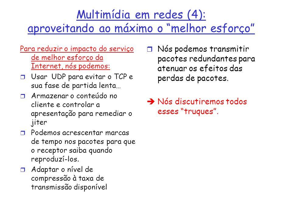 Exemplo de Meta-arquivo Twister <track type=audio e= PCMU/8000/1 src = rtsp://audio.example.com/twister/audio.en/lofi > <track type=audio e= DVI4/16000/2 pt= 90 DVI4/8000/1 src= rtsp://audio.example.com/twister/audio.en/hifi > <track type= video/jpeg src= rtsp://video.example.com/twister/video >