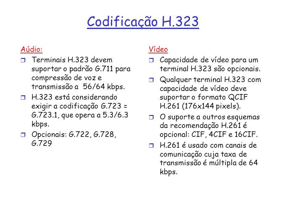 Codificação H.323 Aúdio: r Terminais H.323 devem suportar o padrão G.711 para compressão de voz e transmissão a 56/64 kbps. r H.323 está considerando