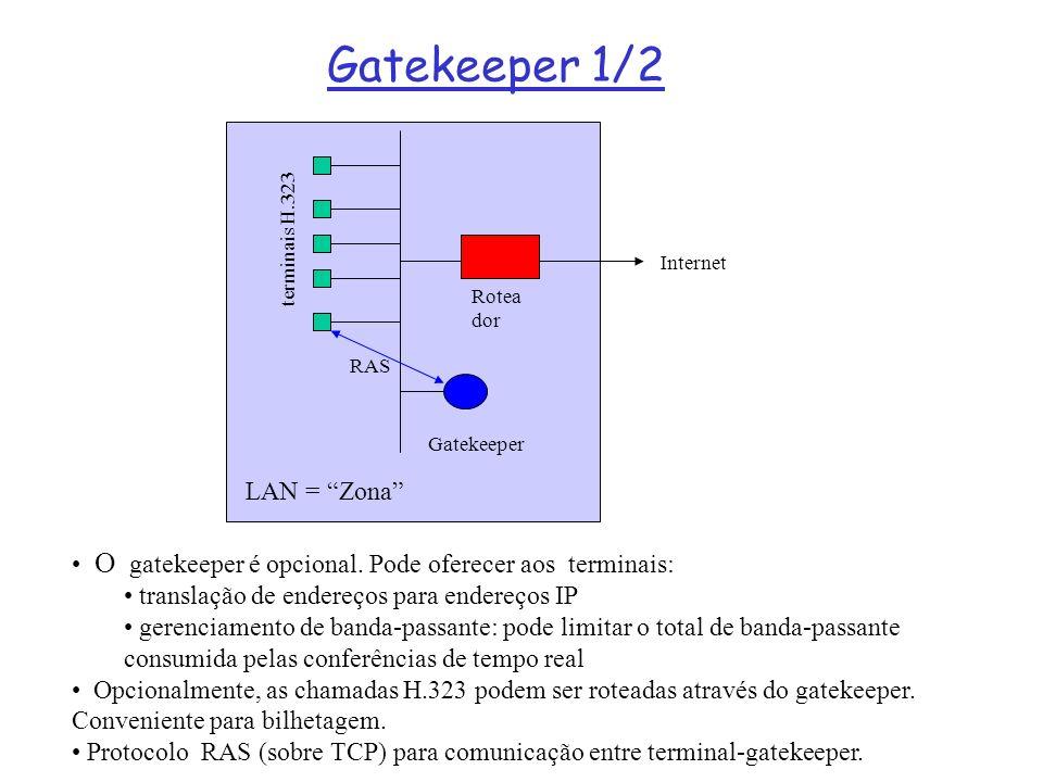 Gatekeeper 1/2 O gatekeeper é opcional. Pode oferecer aos terminais: translação de endereços para endereços IP gerenciamento de banda-passante: pode l