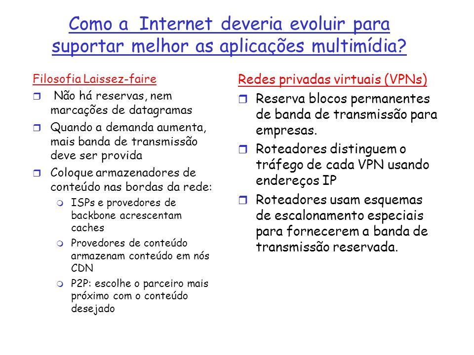 Aúdio e Vídeo Armazenados Mídia de tempo contínuo armazenada: r Arquivos de Aúdio e de Vídeo são armazenados em servidores r Usuários solicitam os arquivos de aúdio e de vídeo por demanda.
