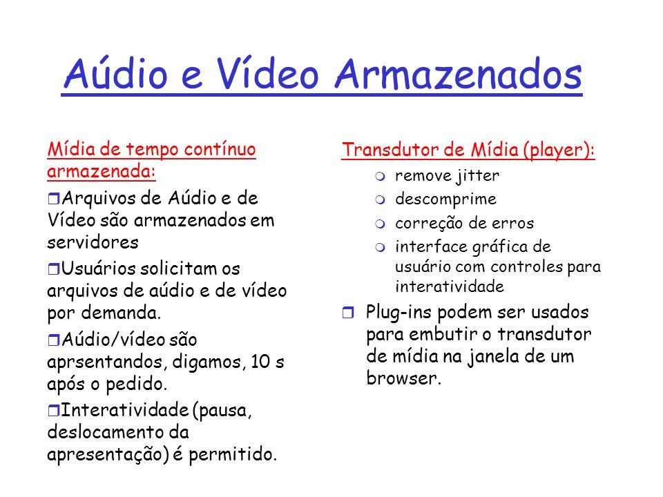 Informações de tempo contínuo em servidores Web (1) r Os arquivos de aúdio e de vídeo são armazenados em servidores Web abordagem ingênua r browser pede o arquivo com uma mensagem HTTP do tipo pedido r Servidor Web envia o arquivo na mensagem HTTP do tipo resposta r O cabeçalho content-type indica uma codificação apropriada para aúdio e vídeo r browser dispara o transdutor de mídia e passa o arquivo para ele r transdutor de mídia apresenta o arquivo Maior problema: o transdutor de mídia interage com o servidor WEB através do Web browser que atua como intermediário.