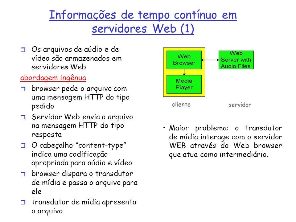 Alternativa: estabelecer conexão entre o servidor e o transdutor r browser Web solicita e recebe um meta arquivo (um arquivo descrevendo o objeto) ao invés de receber o próprio arquivo; r O cabeçalho Content-type indica uma específica aplicação de aúdio e vídeo r Browser dispare o transdutor de mídia e passa o meta arquivo para ele r Transdutor estabelece uma conexão TCP com o servidor e envia a ele a mensagem HTTP do tipo pedido.