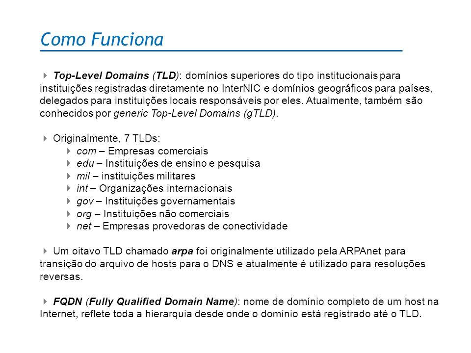 Como Funciona Top-Level Domains (TLD): domínios superiores do tipo institucionais para instituições registradas diretamente no InterNIC e domínios geo