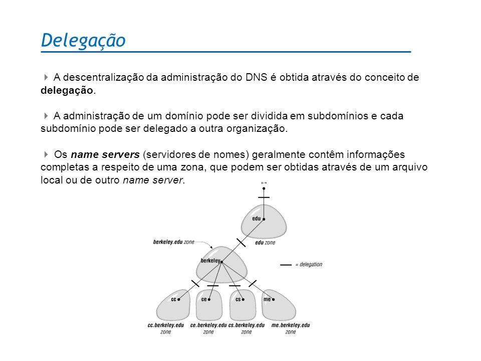 Delegação A descentralização da administração do DNS é obtida através do conceito de delegação. A administração de um domínio pode ser dividida em sub