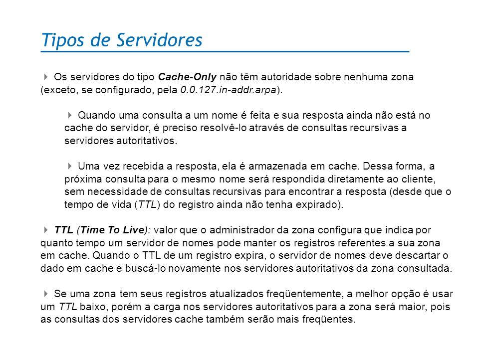 Tipos de Servidores Os servidores do tipo Cache-Only não têm autoridade sobre nenhuma zona (exceto, se configurado, pela 0.0.127.in-addr.arpa). Quando