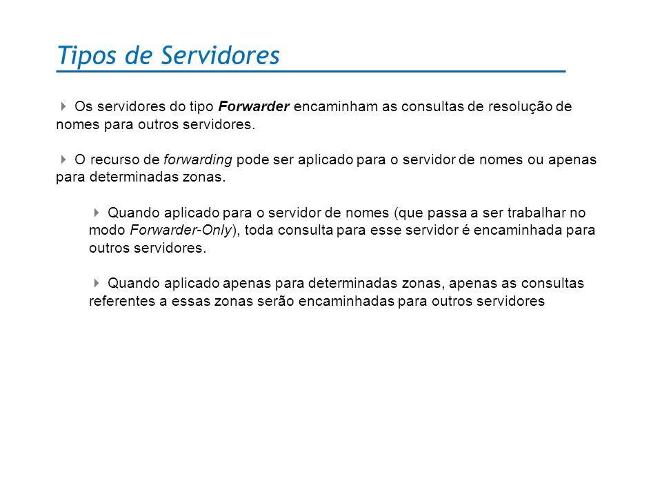 Tipos de Servidores Os servidores do tipo Forwarder encaminham as consultas de resolução de nomes para outros servidores. O recurso de forwarding pode