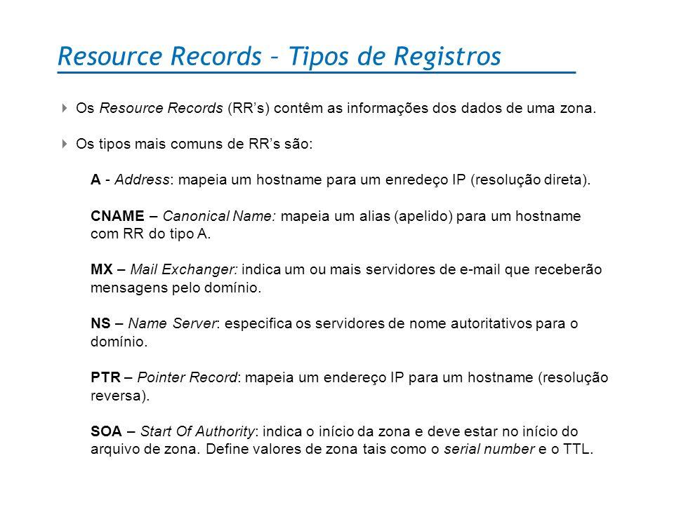 Resource Records – Tipos de Registros Os Resource Records (RRs) contêm as informações dos dados de uma zona. Os tipos mais comuns de RRs são: A - Addr