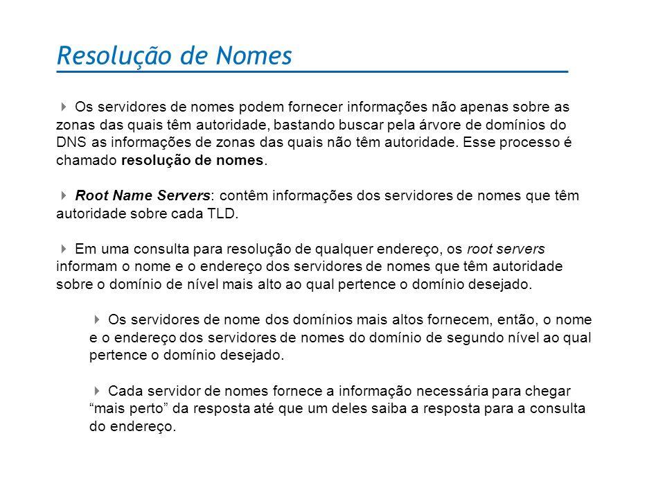 Resolução de Nomes Os servidores de nomes podem fornecer informações não apenas sobre as zonas das quais têm autoridade, bastando buscar pela árvore d
