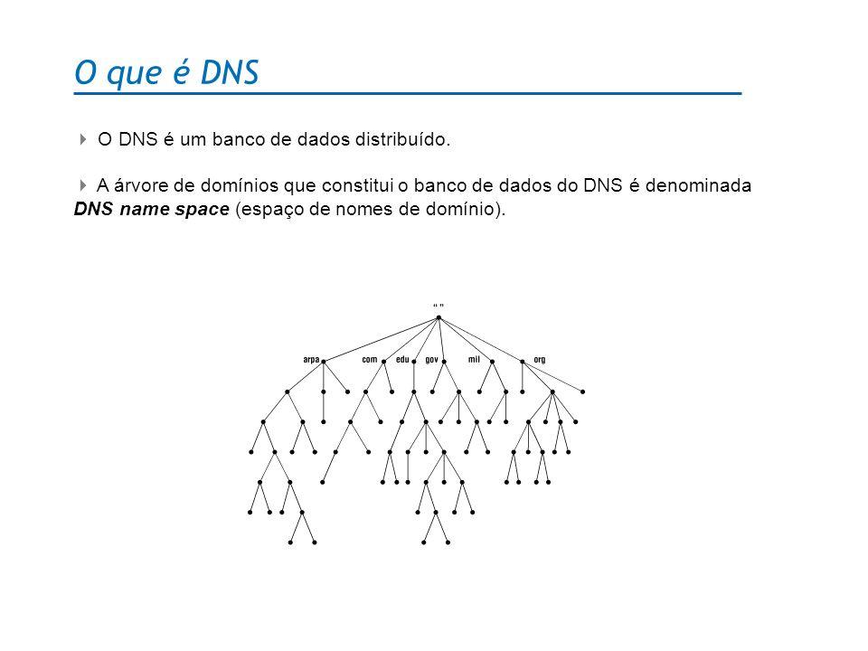 O que é DNS O DNS é um banco de dados distribuído. A árvore de domínios que constitui o banco de dados do DNS é denominada DNS name space (espaço de n