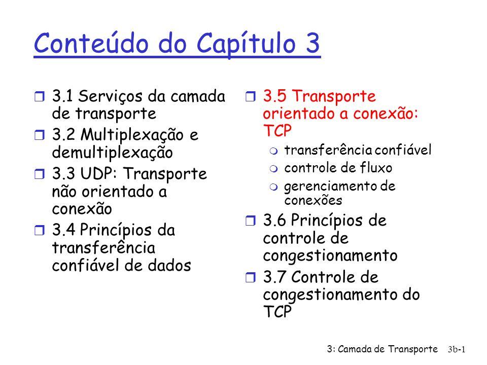3: Camada de Transporte3b-1 Conteúdo do Capítulo 3 r 3.1 Serviços da camada de transporte r 3.2 Multiplexação e demultiplexação r 3.3 UDP: Transporte