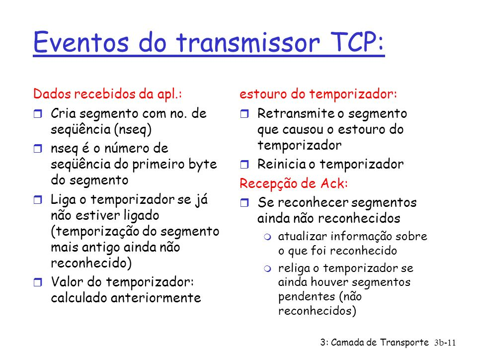 3: Camada de Transporte3b-11 Eventos do transmissor TCP: Dados recebidos da apl.: r Cria segmento com no. de seqüência (nseq) r nseq é o número de seq