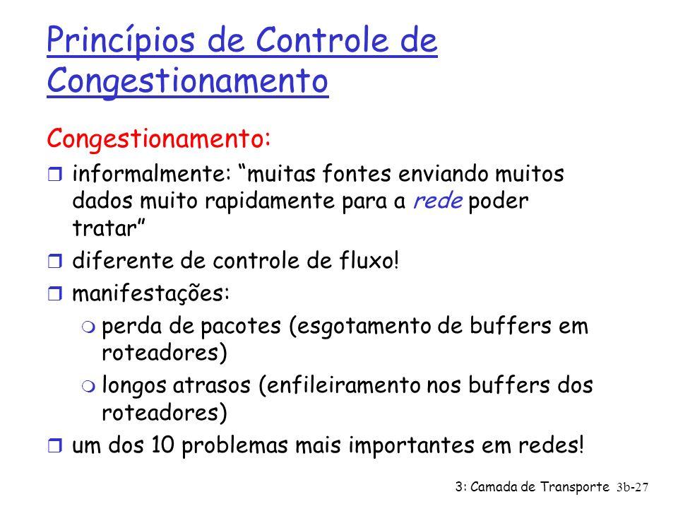 3: Camada de Transporte3b-27 Princípios de Controle de Congestionamento Congestionamento: r informalmente: muitas fontes enviando muitos dados muito r