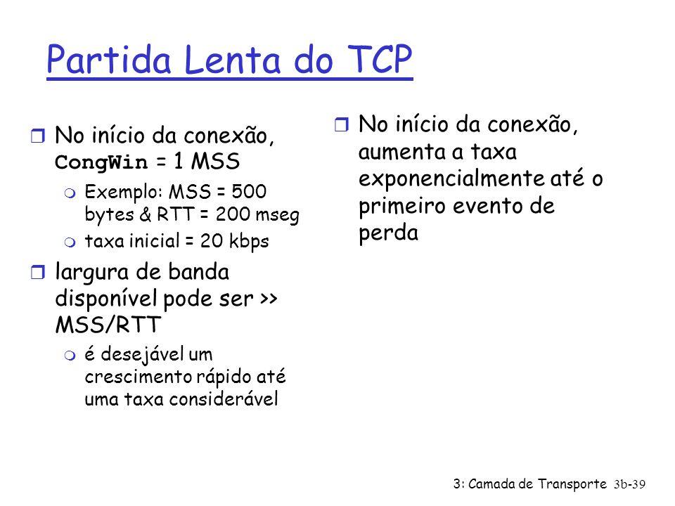 3: Camada de Transporte3b-39 Partida Lenta do TCP No início da conexão, CongWin = 1 MSS m Exemplo: MSS = 500 bytes & RTT = 200 mseg m taxa inicial = 2