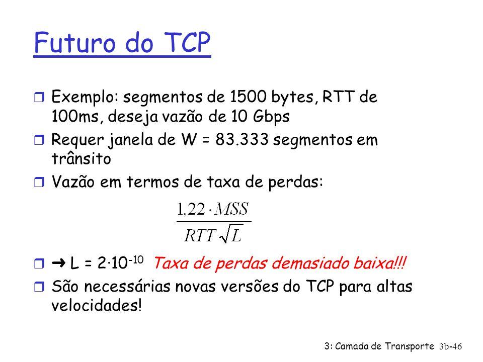 3: Camada de Transporte3b-46 Futuro do TCP r Exemplo: segmentos de 1500 bytes, RTT de 100ms, deseja vazão de 10 Gbps r Requer janela de W = 83.333 seg