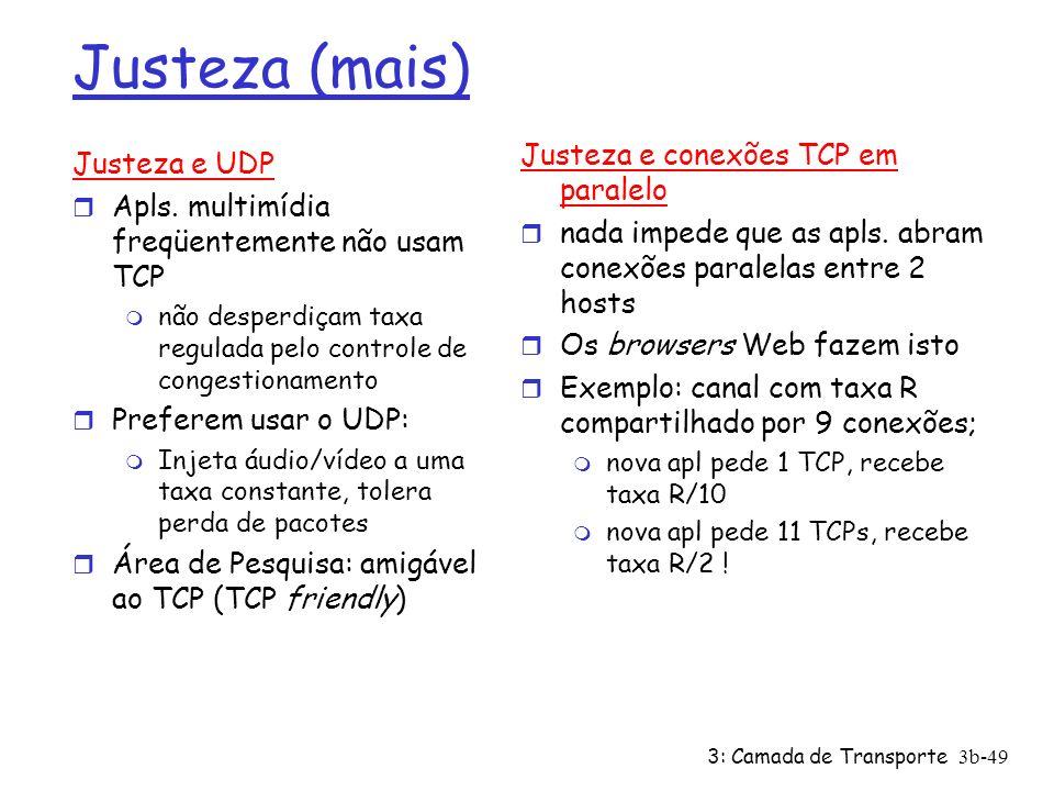 3: Camada de Transporte3b-49 Justeza (mais) Justeza e UDP r Apls. multimídia freqüentemente não usam TCP m não desperdiçam taxa regulada pelo controle