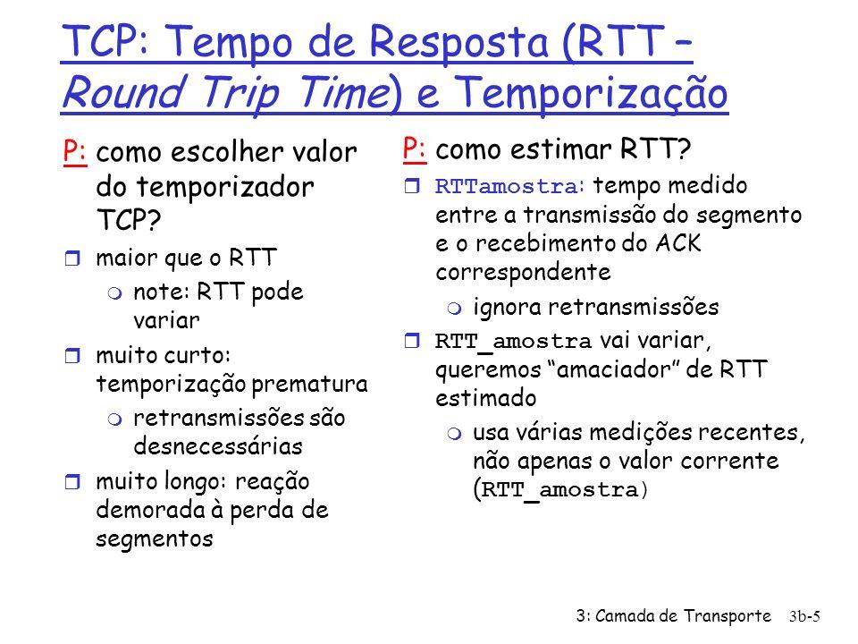 3: Camada de Transporte3b-5 TCP: Tempo de Resposta (RTT – Round Trip Time) e Temporização P: como escolher valor do temporizador TCP? r maior que o RT