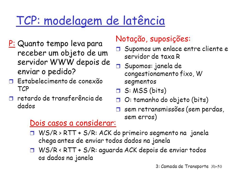 3: Camada de Transporte3b-50 TCP: modelagem de latência P: Quanto tempo leva para receber um objeto de um servidor WWW depois de enviar o pedido? r Es