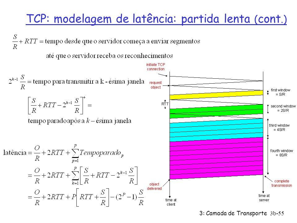 3: Camada de Transporte3b-55 TCP: modelagem de latência: partida lenta ( cont.)