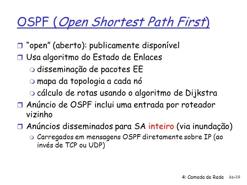 4: Camada de Rede 4a-39 OSPF (Open Shortest Path First) r open (aberto): publicamente disponível r Usa algoritmo do Estado de Enlaces m disseminação d