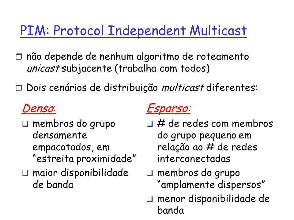 PIM: Protocol Independent Multicast r não depende de nenhum algoritmo de roteamento unicast subjacente (trabalha com todos) r Dois cenários de distrib