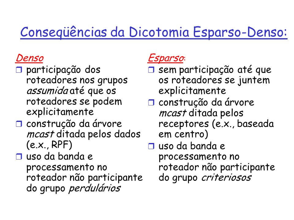 Conseqüências da Dicotomia Esparso-Denso: Denso r participação dos roteadores nos grupos assumida até que os roteadores se podem explicitamente r cons