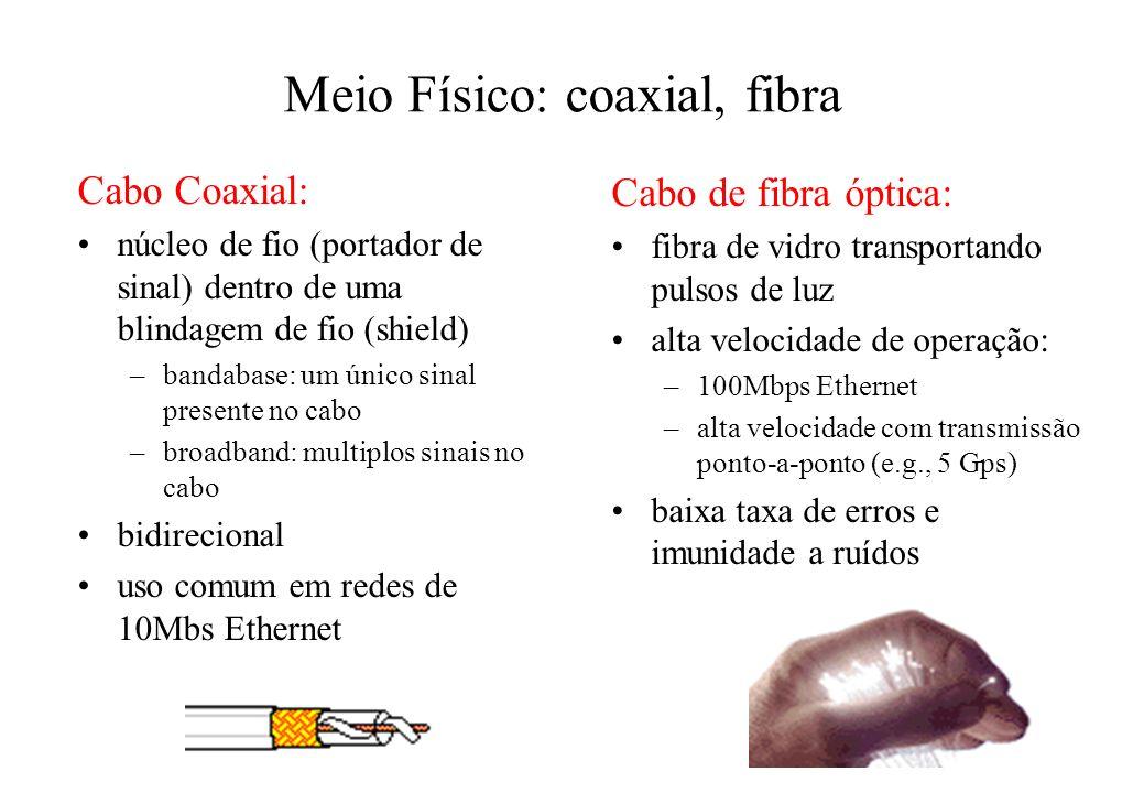 Meio Físico: coaxial, fibra Cabo Coaxial: núcleo de fio (portador de sinal) dentro de uma blindagem de fio (shield) –bandabase: um único sinal presente no cabo –broadband: multiplos sinais no cabo bidirecional uso comum em redes de 10Mbs Ethernet Cabo de fibra óptica: fibra de vidro transportando pulsos de luz alta velocidade de operação: –100Mbps Ethernet –alta velocidade com transmissão ponto-a-ponto (e.g., 5 Gps) baixa taxa de erros e imunidade a ruídos