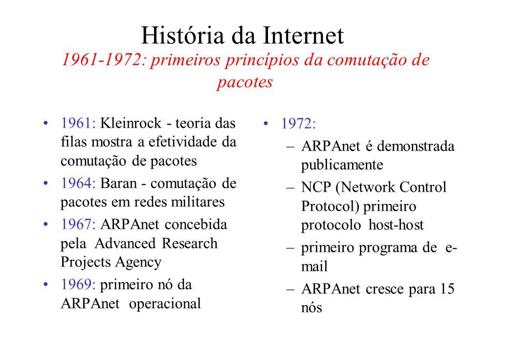 História da Internet 1961: Kleinrock - teoria das filas mostra a efetividade da comutação de pacotes 1964: Baran - comutação de pacotes em redes militares 1967: ARPAnet concebida pela Advanced Research Projects Agency 1969: primeiro nó da ARPAnet operacional 1972: –ARPAnet é demonstrada publicamente –NCP (Network Control Protocol) primeiro protocolo host-host –primeiro programa de e- mail –ARPAnet cresce para 15 nós 1961-1972: primeiros princípios da comutação de pacotes