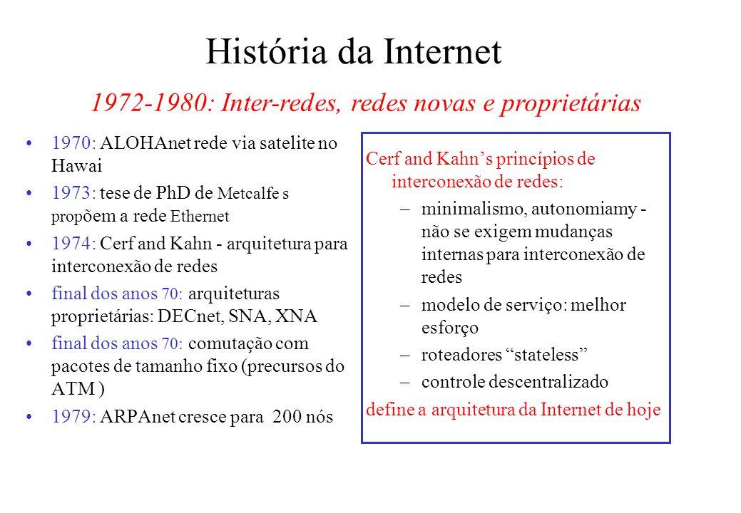 História da Internet 1970: ALOHAnet rede via satelite no Hawai 1973: tese de PhD de Metcalfe s prop õem a rede Ethernet 1974: Cerf and Kahn - arquitetura para interconexão de redes final dos anos 70: arquiteturas proprietárias: DECnet, SNA, XNA final dos anos 70: comutação com pacotes de tamanho fixo (precursos do ATM ) 1979: ARPAnet cresce para 200 nós Cerf and Kahns princípios de interconexão de redes: –minimalismo, autonomiamy - não se exigem mudanças internas para interconexão de redes –modelo de serviço: melhor esforço –roteadores stateless –controle descentralizado define a arquitetura da Internet de hoje 1972-1980: Inter-redes, redes novas e proprietárias