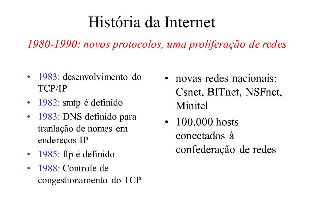 História da Internet 1983: desenvolvimento do TCP/IP 1982: smtp é definido 1983: DNS definido para tranlação de nomes em endereços IP 1985: ftp é definido 1988: Controle de congestionamento do TCP novas redes nacionais: Csnet, BITnet, NSFnet, Minitel 100.000 hosts conectados à confederação de redes 1980-1990: novos protocolos, uma proliferação de redes