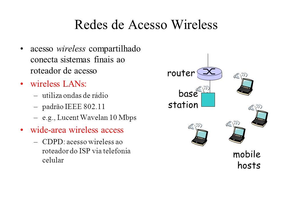 Redes de Acesso Wireless acesso wireless compartilhado conecta sistemas finais ao roteador de acesso wireless LANs: –utiliza ondas de rádio –padrão IEEE 802.11 –e.g., Lucent Wavelan 10 Mbps wide-area wireless access –CDPD: acesso wireless ao roteador do ISP via telefonia celular base station mobile hosts router